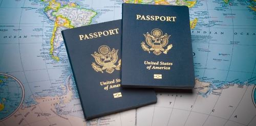 passports on top of global map